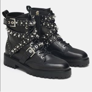 Zara studded crystals trimmed booties 2019